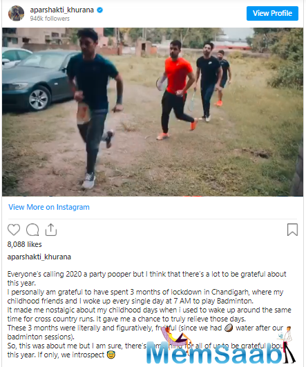 """Soon after Aparshakti posted the video, his brother Ayushmann Khurrana's wife Tahira Kashyap commented, """"So cute you boys"""""""