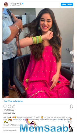 Once again today, the actress took to social media to share unseen pictures of her first look test for the film where she is playing the lead character of a girl, Pooja.