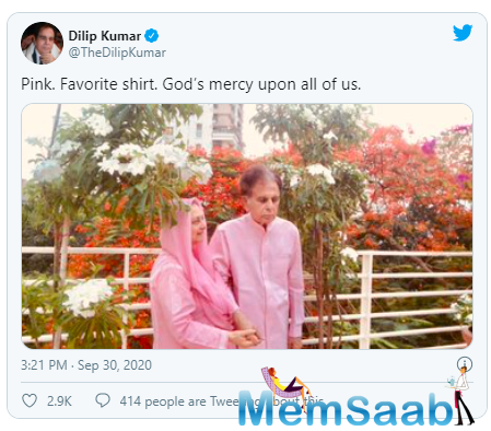 The veteran actress held Dilip Kumar's hands as they stood for a quick picture amidst greenery and flowers. She captioned the post, 'Pink. Favorite shirt. God's mercy upon all of us.'