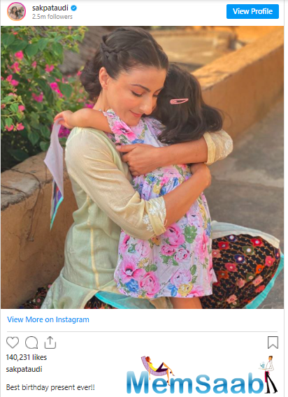 On her birthday, Soha posted a picture of her hugging daughter Inaaya, who has a painting in her hand, and wrote:
