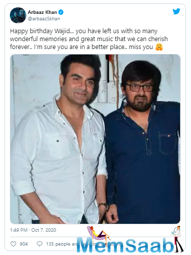Music composer Wajid Khan of Sajid-Wajid passed away on 1st June of this year due to a cardiac arrest at the age of 42.