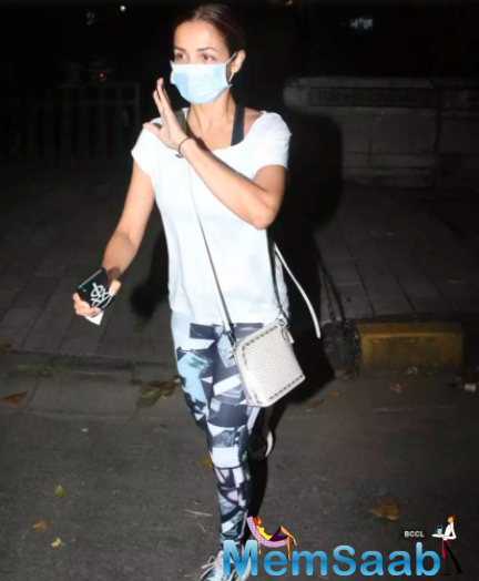 The diva was seen sporting a white T-shirt teamed with track pants in shades of black and grey.