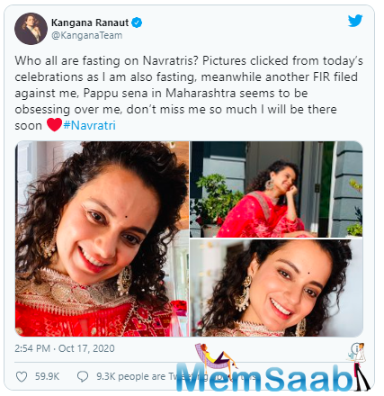 The actress took to her verified Twitter account to share photographs of her Navaratri look this year while taking a sarcastic jibe at the state government.