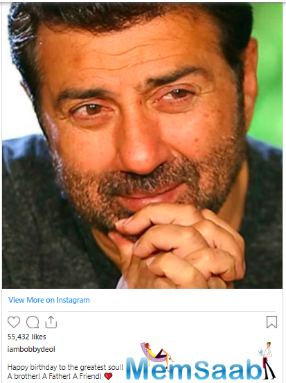 And today, on October 19, Sunny Deol celebrates his birthday and this is what Bobby Deol had to say about him on his Instagram account: