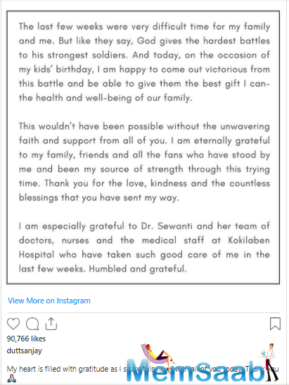 The good news is that the actor has recovered and taken to his Instagram account to share the news with everyone.