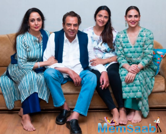 The dream girl recently took to Twitter to share a few pictures from her birthday celebration, which feature husband Dharmendra and daughters Esha and Ahana.