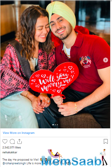 Earlier, Neha had shared photographs from the day when he proposed to Kakkar for marriage.