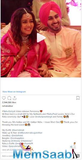 A few days back, the singer had shared pictures and videos of her Roka ceremony.