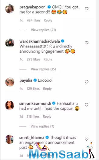 Although the post is an advertisement of a brand selling engagement rings, the picture left celebrities and netizens wondering if the actress intended to announce her engagement.