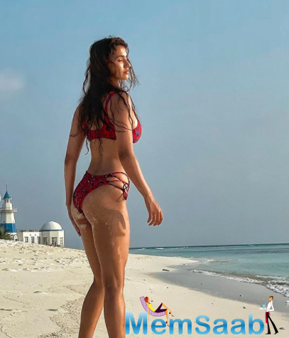 Recently, too, Disha shared a photo of herself wearing a powder blue bikini and trying to get her wind-tousled hair under control.