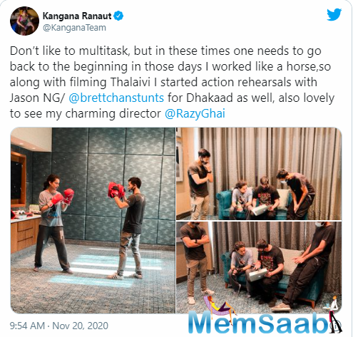 She also posted a picture of herself and the action director duo with the director of the film Razneesh Ghai.