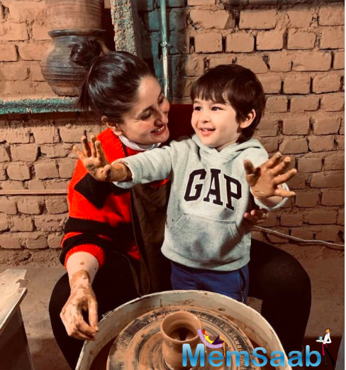 Kareena now took to her Instagram account and shared two pictures and one video where she and Taimur could be seen trying their hands at pottery, and the toddler's reaction, as it always does, stole the show.