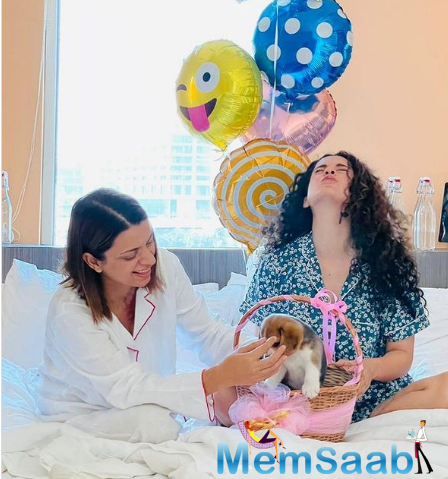 Kangana Ranaut on Tuesday marked the birthday of her sister Rangoli Chandel with a special social media post and introduced her new family member Gappu, a pup, to everyone.