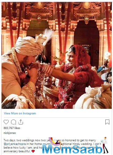 Now, Nick took to Instagram to post pictures from their Hindu marriage ceremony and wrote a heartfelt caption for his wifey Priyanka.