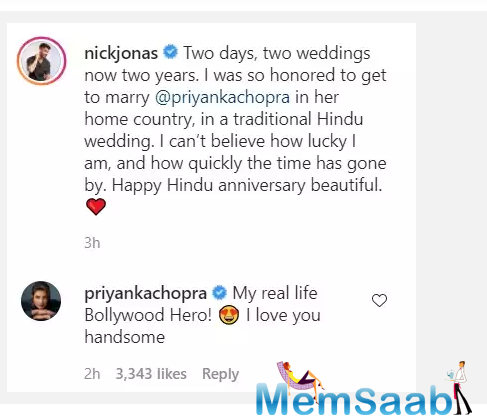 Soon, Priyanka dropped a sweet comment on his post. She wrote,