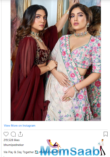 As soon as she shared the post, celebs were all praise for the stylish sisters. Ace designer Manish Malhotra wrote, ''The gorgeous sisters''. Shilpa Shetty Kundra commented, ''Sooo pretty ''.