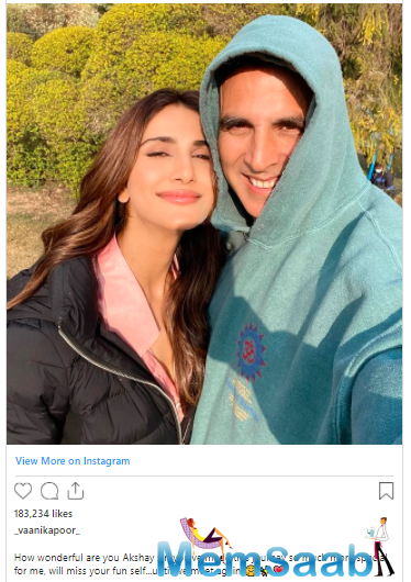 Vaani shared a sun-kissed selfie on her verified Instagram account on Wednesday, clicked with the Bollywood superstar. Both the actors smile at the camera.