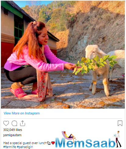 Yami, who is currently stationed in Himachal Pradesh, regularly shares pictures of the picturesque location on her Instagram handle.