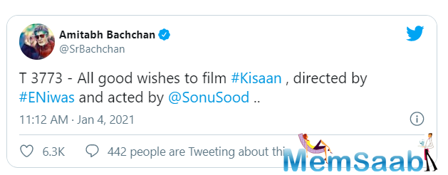 Sharing his best wishes for team Kisaan, veteran Bollywood superstar Amitabh Bachchan tweeted: