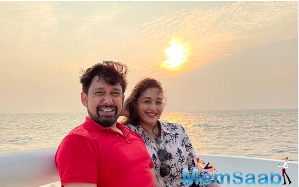 In the adorable picture of the couple, while Madhuri sported a printed white shirt, Dr Nene looked handsome in a casual red polo T-shirt.