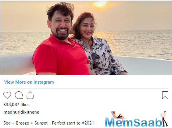 Madhuri Dixit on Wednesday shared photos of her romantic date with beloved husband Sriram Nene and revealed how she gave a perfect start to 2021.