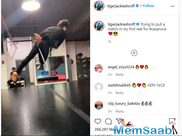 In the clip, Shroff is seen sporting black trousers and a matching blazer while he donned a pair of matching shades. Amid a karate studio, the 'Baaghi' star looks stunning while he impresses his fans with the stunning clip.