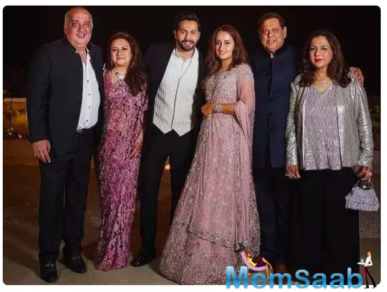 Varun Dhawan and Natasha Dalal posed for a perfect family portrait during their wedding festivity.