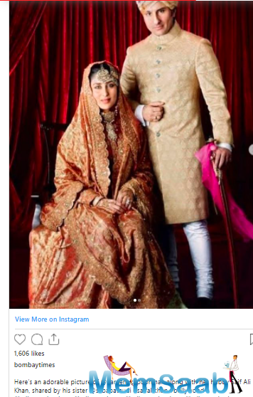 Saba then shared Bebo and Saif's royal picture from the wedding album.