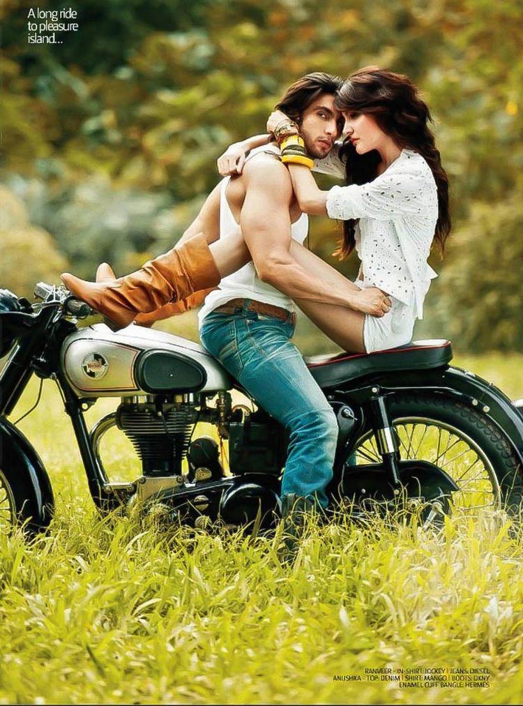 On Bike: Anushka Sharma and Ranveer Singh