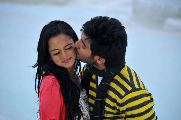 Aadi and Shanvi Lovely Telugu Movie kiss still