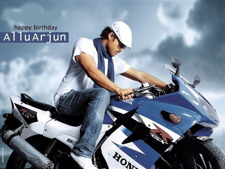 Allu Arjun Wallpaper With Wonderful Bike