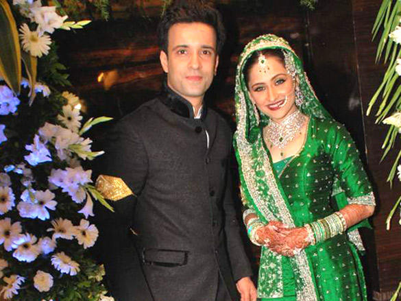 Amir Ali and  Sanjeeda Sheik at their wedding reception