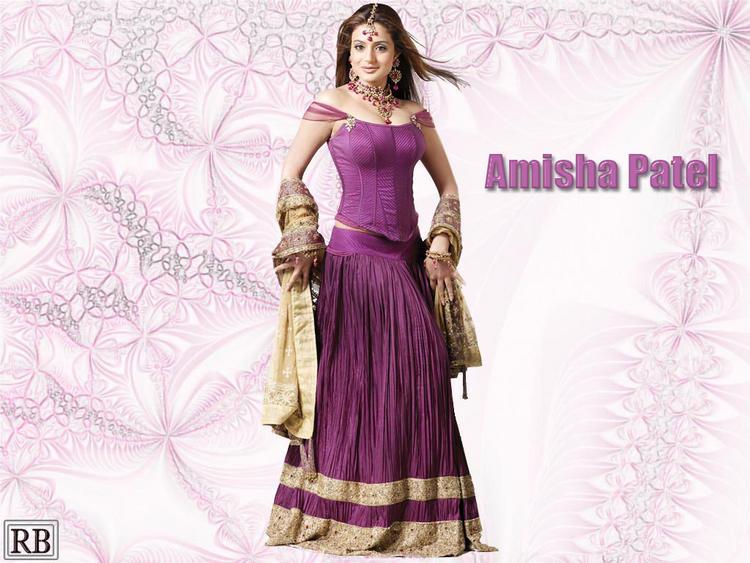 Amisha Patel in Purple Lehenga