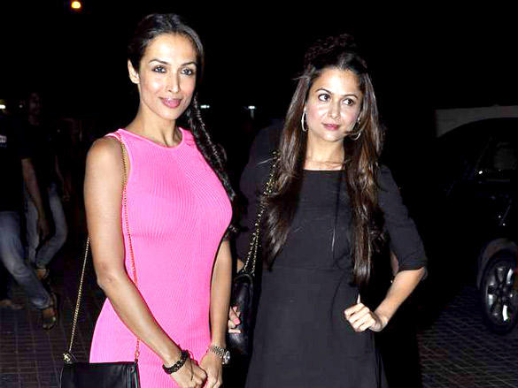 Amrita Arora,Malaika Arora Khan at Agent Vinod Screening at PVR