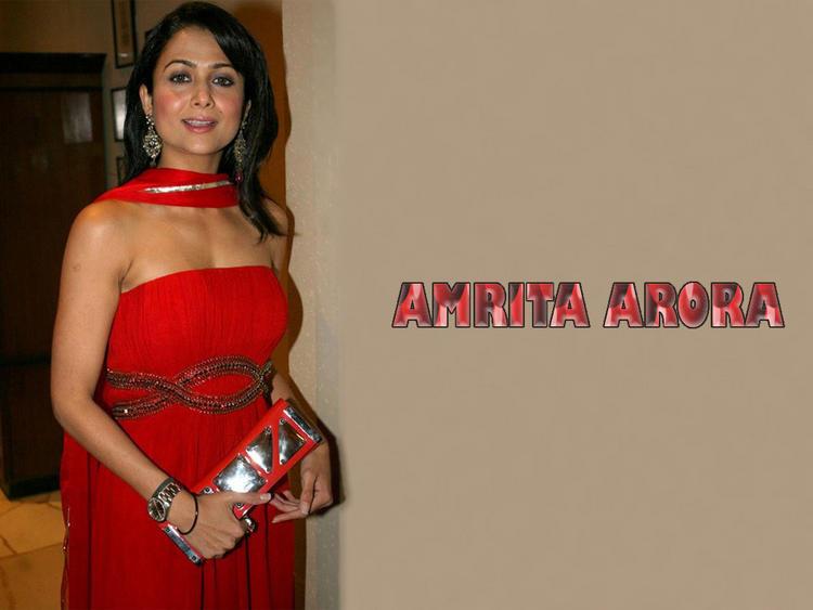Amrita Arora Red Dress Glamour Still