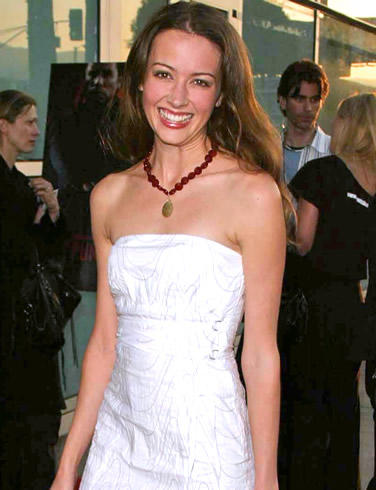 Amy Acker White Sleeveless Dress Press Meet Photo