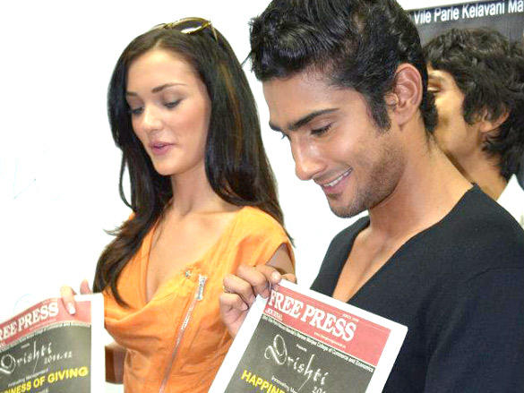 Amy Jackson and Prateik Babbar Speaking to the Media at the camp