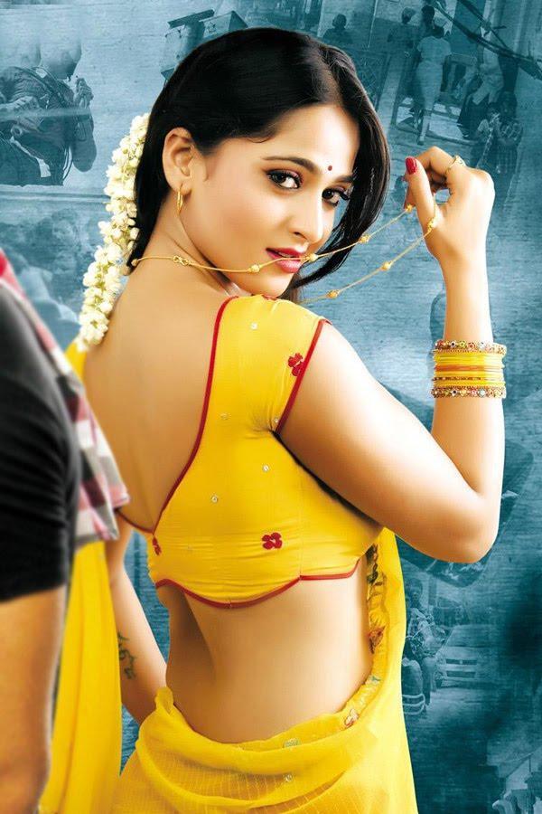 Anushka Shetty Yellow Saree Sexy Look Holding Nacklace