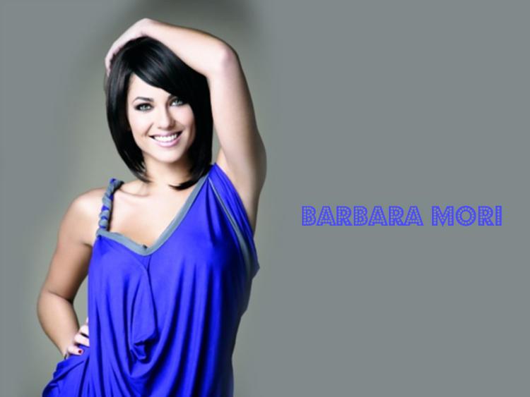 Barbara Mori Hair Style Blue Dress Wallpaper