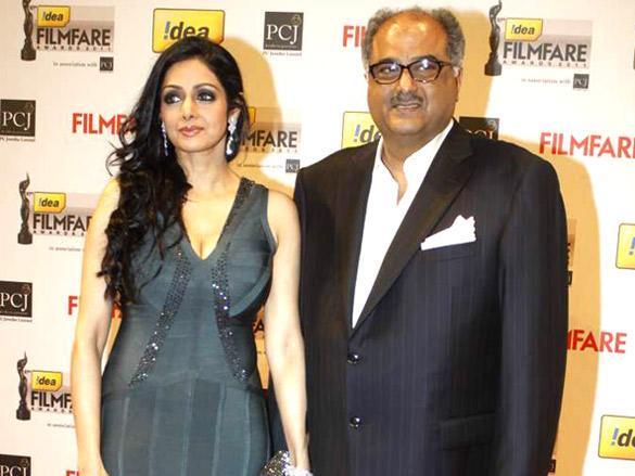 Boney Kapoor with wife Sridevi at 57th Idea Filmfare Awards