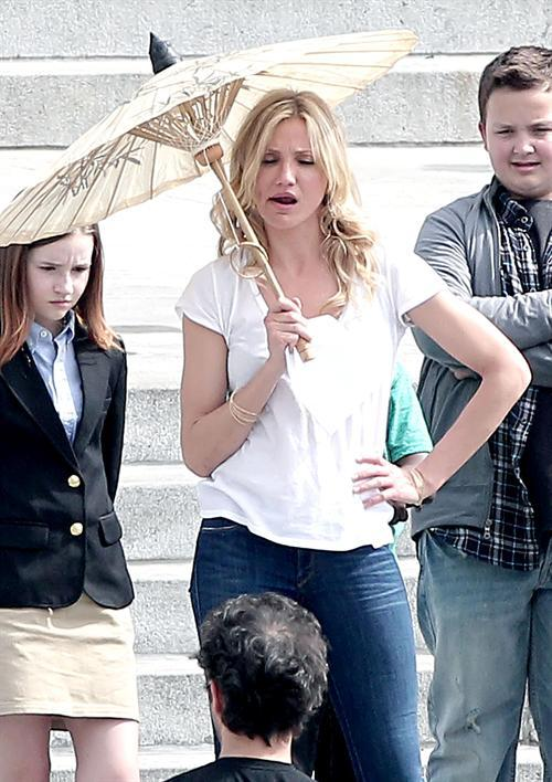 Cameron Diaz Cute Still With white Tops and Tight Jeans