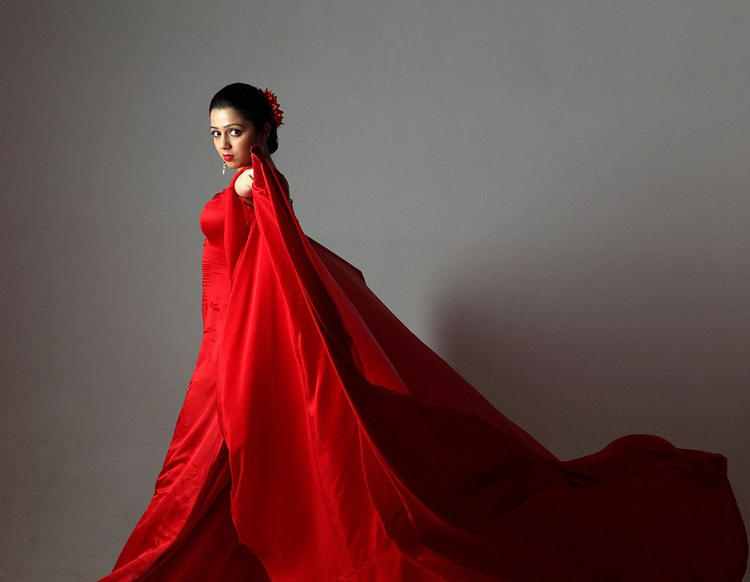 Charmi Kaur Amazing Red Dress Pic