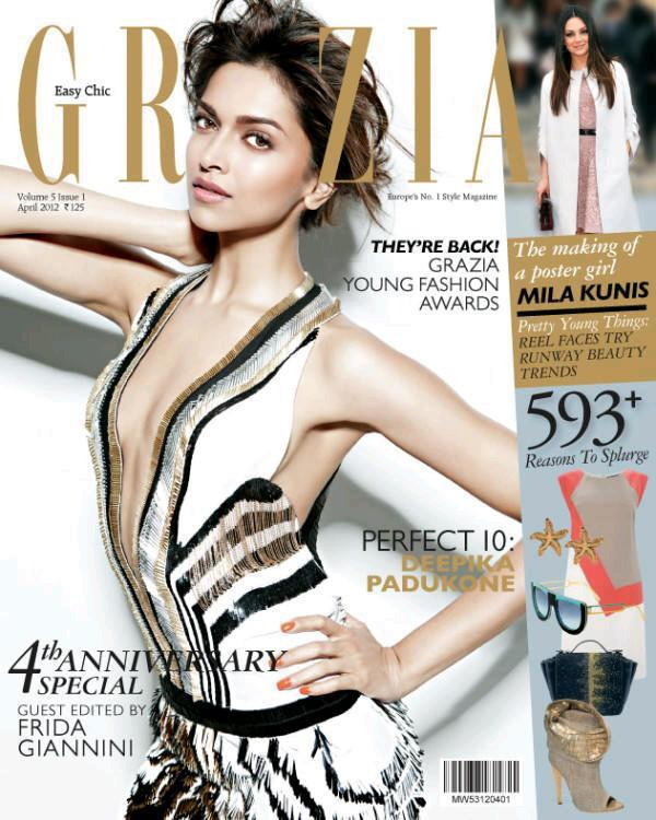 Deepika Padukone On The Cover of Grazia April 2012