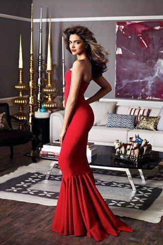Deepika Padukone Red Gown Photoshoot For Architectural Digest