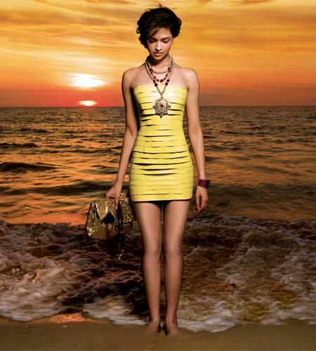 Deepika Padukone Yellow Short Dress Wallpaper