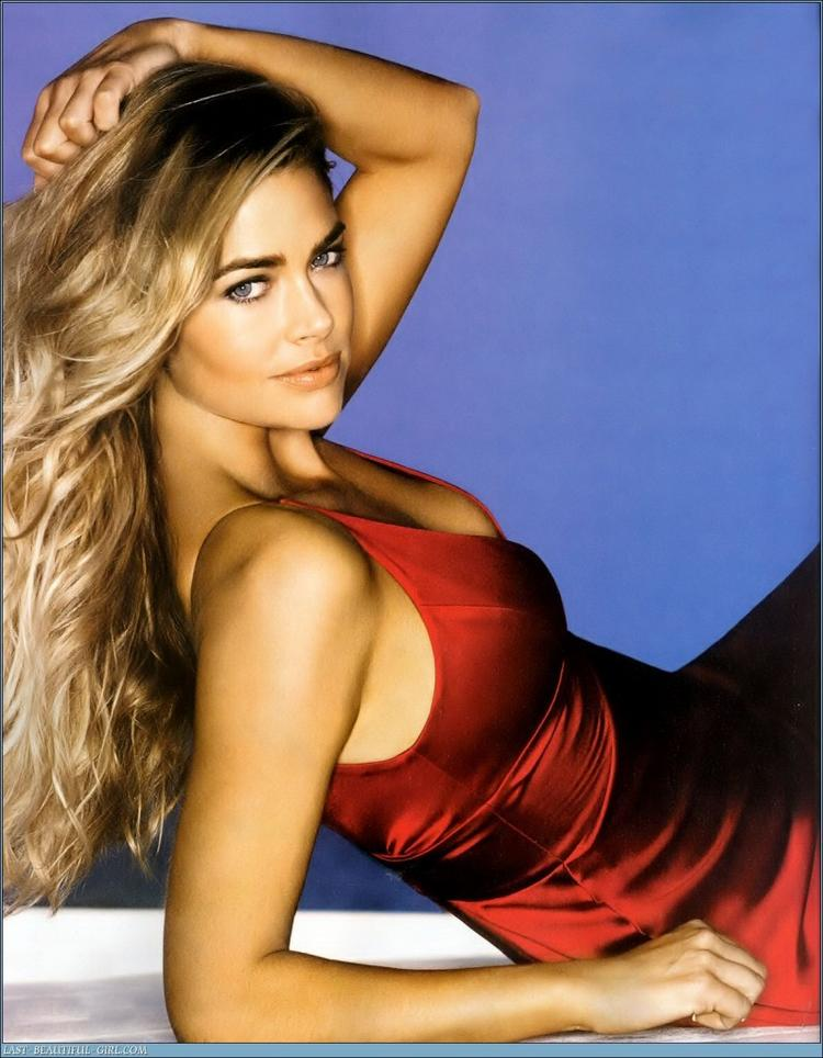 Denise Richards Red Dress Romantic Look Photo Shoot