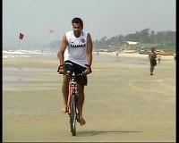 Dhoni In Bicycle Goa Beach Photo