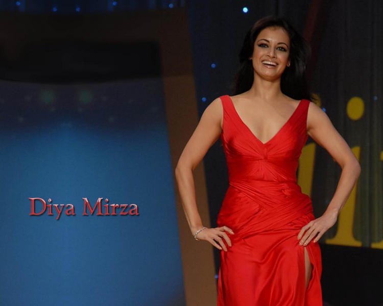 Diya Mirza Red Dress With Open Smile