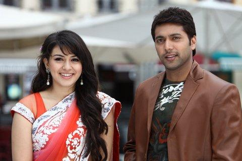 Engeyum Kadhal Movie Jayam Ravi and Hansika Motwani Still