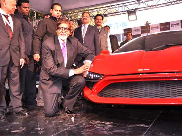 Excited Amitabh Bachchan Poses next to Avanti Super Car